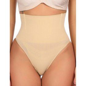 Culotte String Femme - Gaine Ventre Plat Sans Couture (Beige)