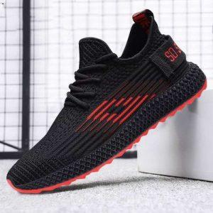 Chaussures de course décontractées pour hommes, chaussures de sport, étudiants, noir rouge