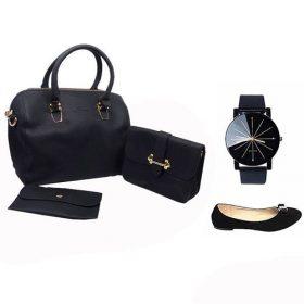 Pack Sac à Main Femme avec Pochette + Montre Quartz et 1 Ballerine Offerte - Noir