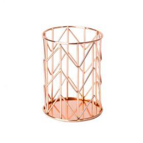 Pot de rangement métallique rose doré