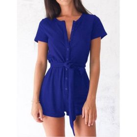 Barboteuse Femme - Manches Courtes Coton - Bleu