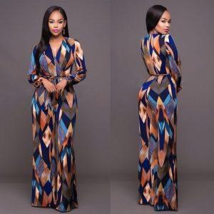 Combinaison Mode Féminine à Manches Longues et Taille Haute Multicolore