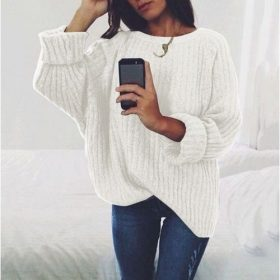 Pull Femmes Col Rond Manches Longues - Blanc