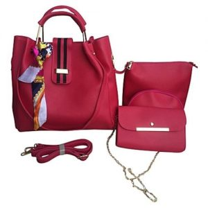 Sac à Main Femme - 3 Pochettes et Foulard - Simili Cuir - Rose Fuchsia