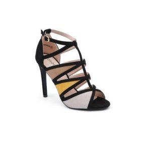 Les sandales à talons aiguilles en suédine multicolore, la chaussure femme parfaite pour toutes vos soirées ! Ces sandales sont en suédine. Elles sont à talons aiguilles. Sur tout l'avant du pied, la chaussure est ajourée formant diverses motifs.
