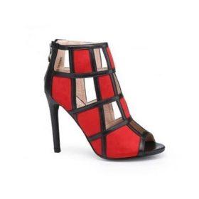 Sandales Montantes en Daim et Cuir - Rouge