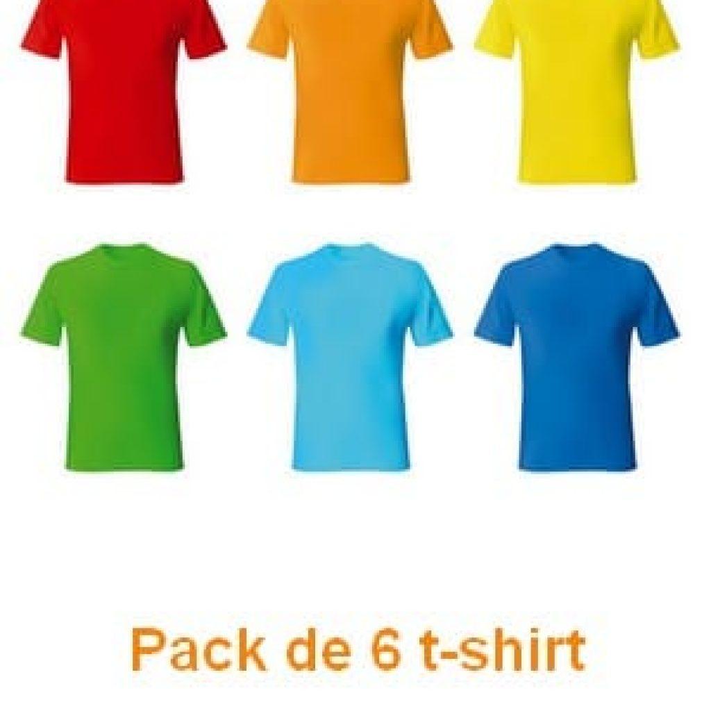Pack de 6 t-shirts pour Homme
