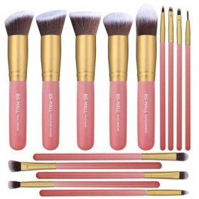 Set-de-14-pinceaux-kabuki-pro-rose-gold-teint-yeux-