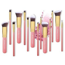 Set de 14 pinceaux kabuki pro rose gold teint & yeux BS